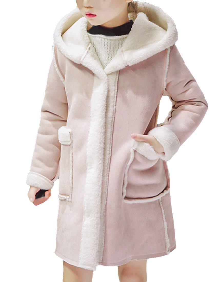 MFrannie Girls Thicken Fleece Suede Winter Pockets Hooded Woolen Coat Pink 9-10T