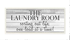 Stupell Industries Laundry Room Funny Word Bathroom Black and White Design Wall Plaque, 7 x 17, Multi-Color