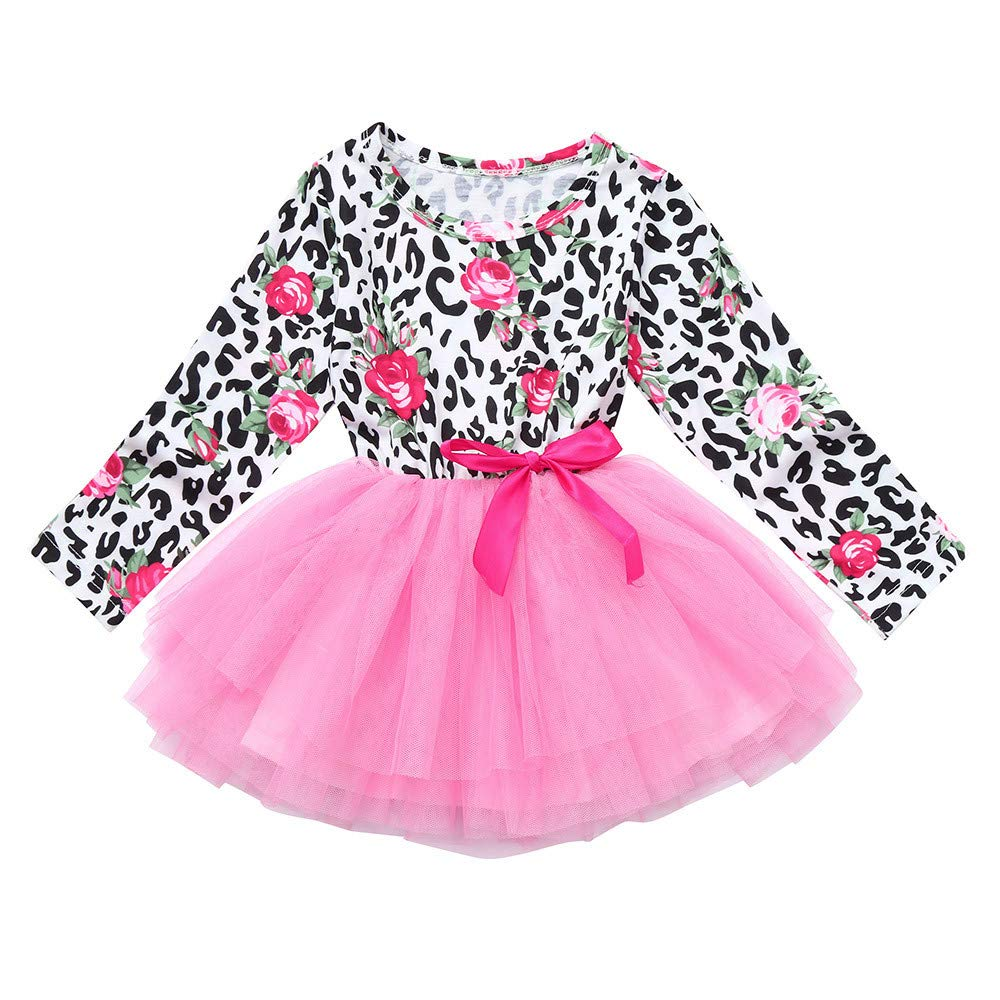 Clearance sale Toddler Baby Girls Long Sleeve Floral Print Bowknot Tutu Dress Clothes (3-4 Y, Pink)