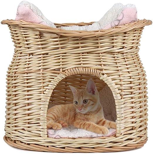 LOSY PET Cama de Mimbre para Gatos Cesta de 2 Niveles para Mascotas Perros Gatos con 2 Cojines Suaves Color Beige: Amazon.es: Productos para mascotas