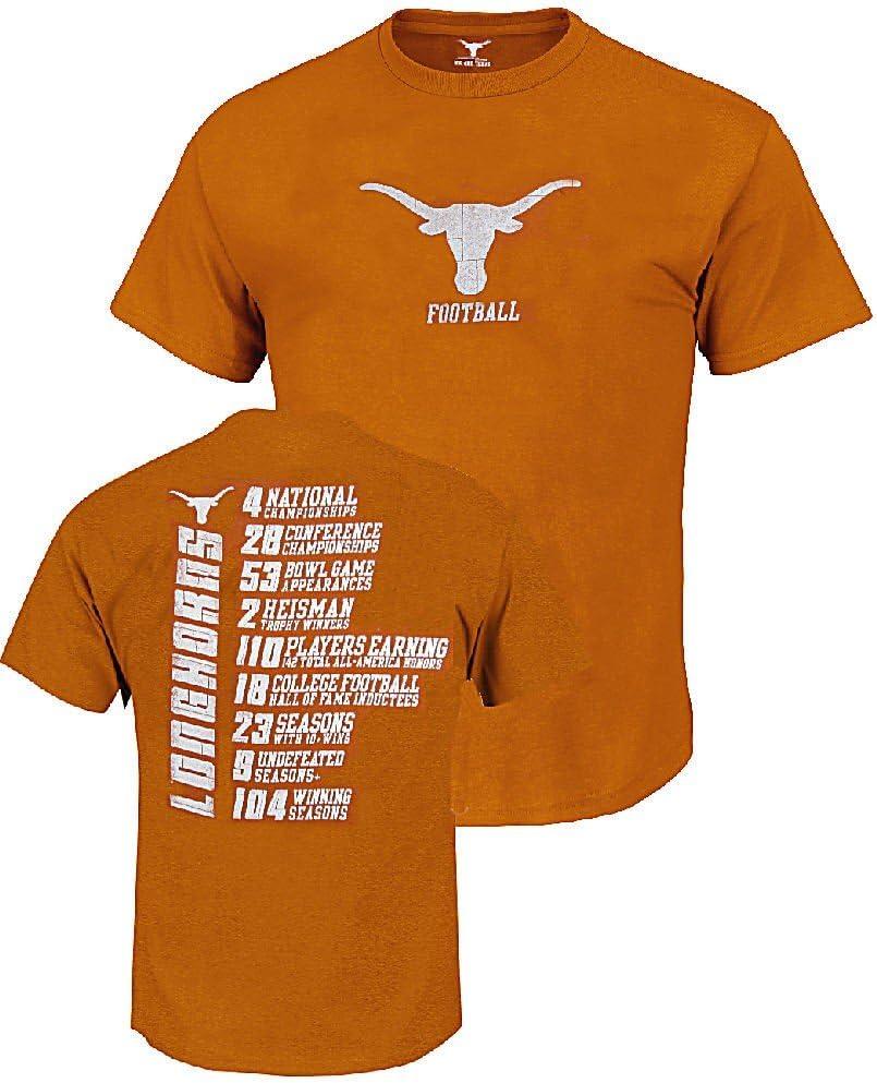 Texas Longhorns naranja compuesto estadísticas camiseta, Texas Longhorns, 4X-Large, Anaranjado: Amazon.es: Deportes y aire libre