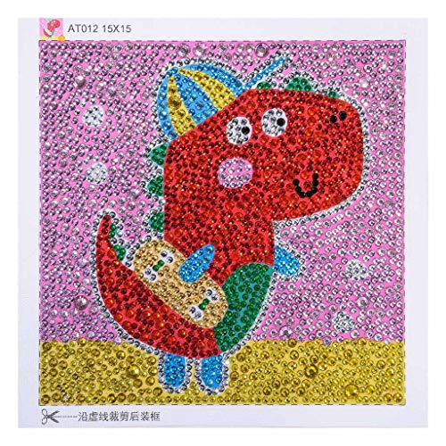 Birdfly Partial Drill Cross Stitch Kits 5D DIY Crystal Diamond Cartoon Animal Painting Kits for Children Baby Kid 15x15cm (Dinosaur)
