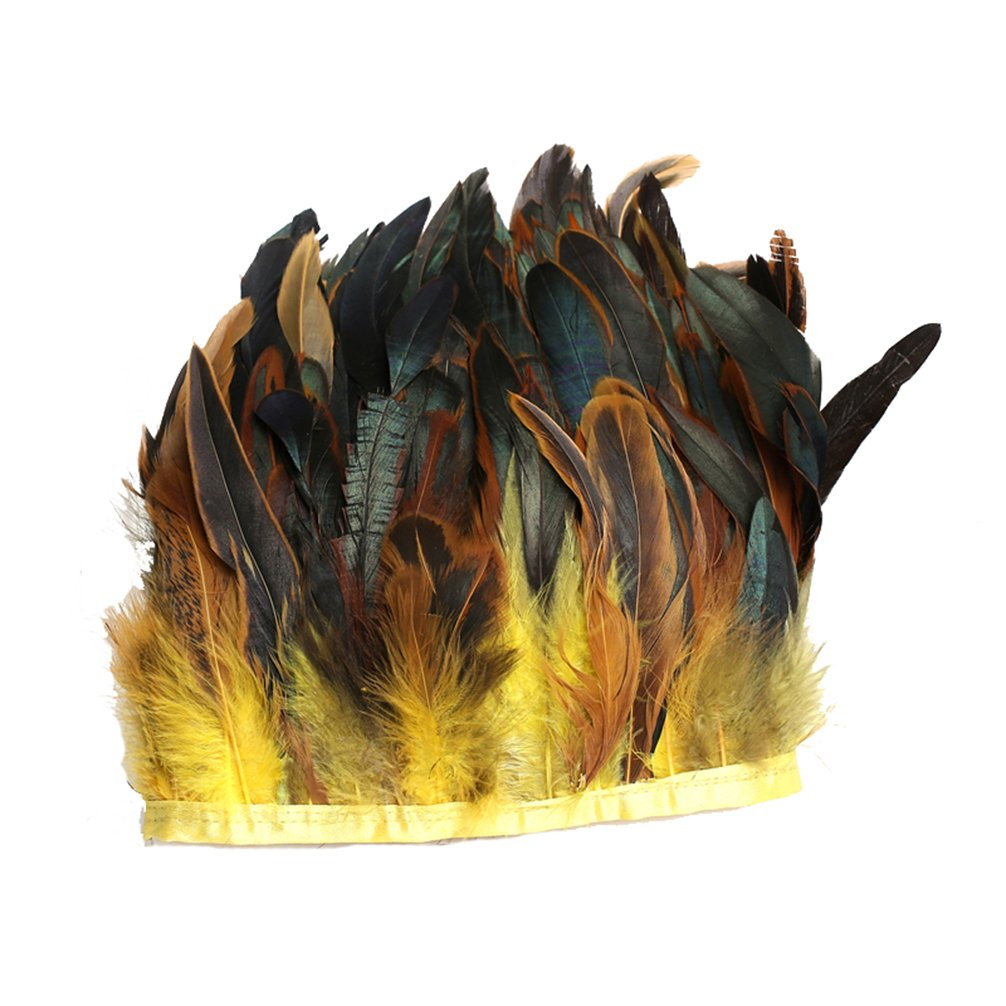 "AWAYTR Rooster Hackle Feather Fringe Trim 5-6"" in Width Pack of 5 Yards (Black) 608803538586"
