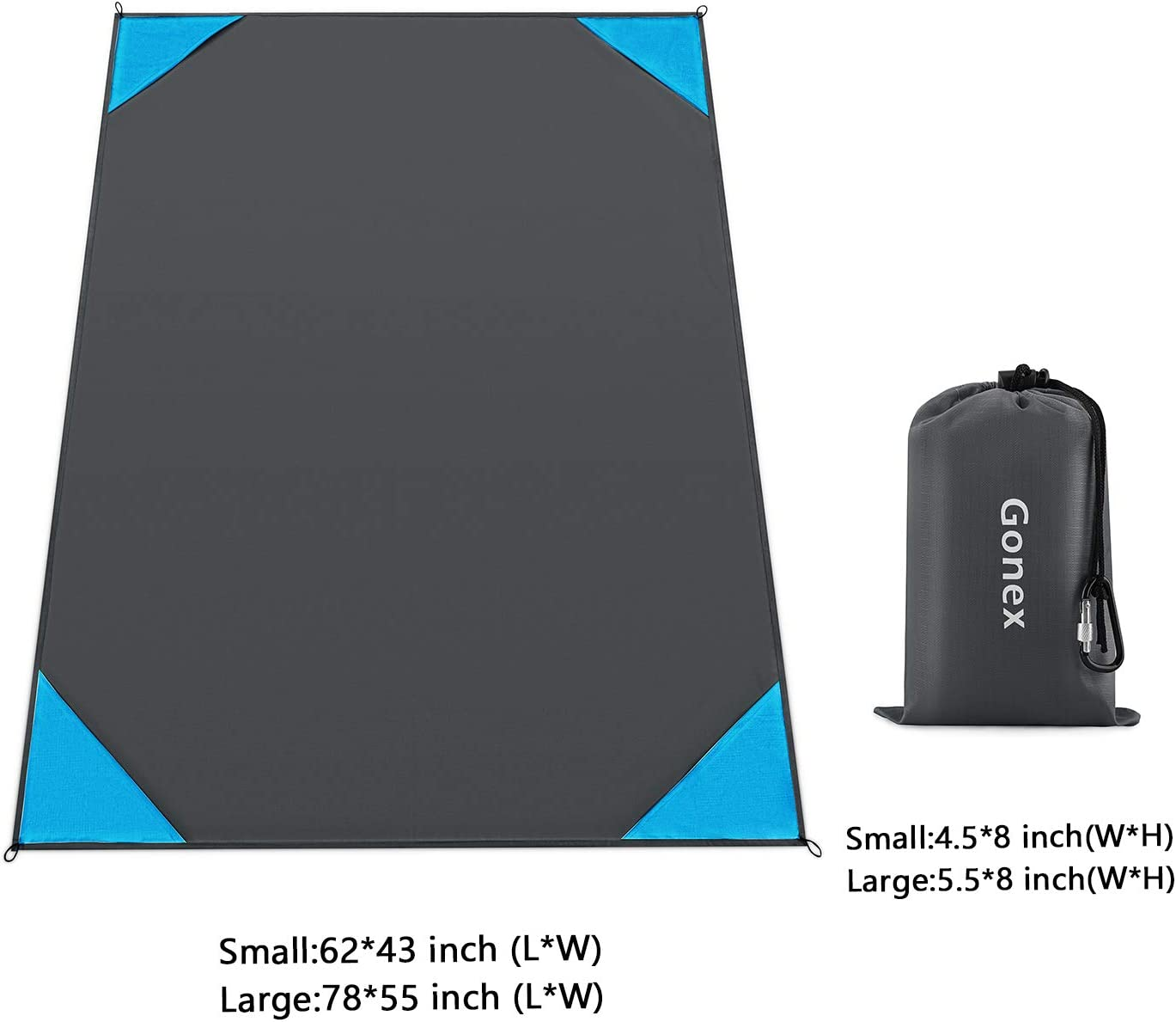 Gonex Sand Proof Beach Blanket 78x78 /& 120x108 Compact Beach Mat Lightweight with Carry Pouch 78x55 Stakes Carabiner for Outdoor Waterproof Sand Free 62x43