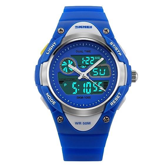 amstt Unisex Sport Reloj Joven Chica Agua Densidad Alarma LED Digital Reloj de Pulsera (Azul