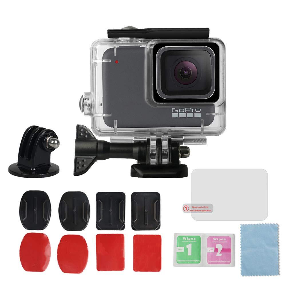 TeemorShop 防水ケース カメラアクセサリーセット GoPro Hero 7 シルバー&ホワイト 45M 水中ダイビング保護   B07MFPD8TK