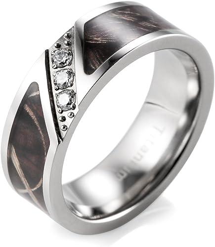 Shardon Men S 7mm Dark Bulrush Camo Titanium Ring Diagonal Grooved