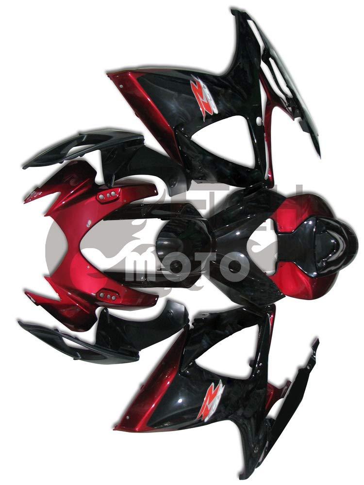 FlashMoto suzuki 鈴木 スズキ GSX-R600 GSX-R750 K6 2006 2007用フェアリング 塗装済 オートバイ用射出成型ABS樹脂ボディワークのフェアリングキットセット (ブラック,レッド)   B07MGRD49J