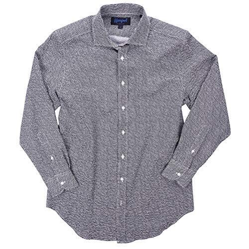 (Haspel Seersucker Long Sleeve Shirt - Carroll Bean Print Navy)