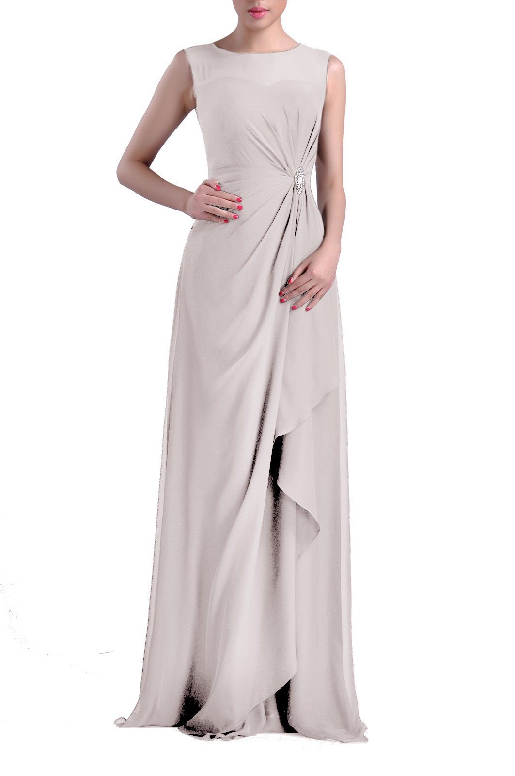 Formal Bridesmaid Dress Chiffon Special Occasion Long Mother Of The Bride Groom Dress, Color Silver,16