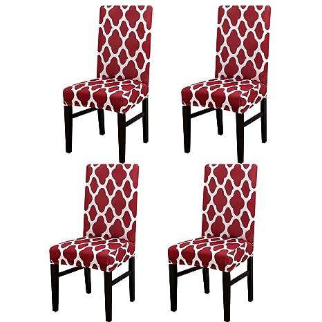 Jian Ya Na - Fundas Protectoras para sillas de Comedor elásticas extraíbles y Lavables, Wine