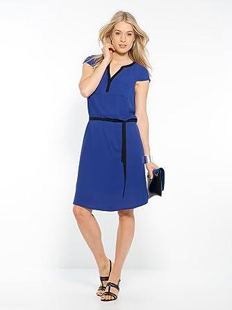 Balsamik Robe Bicolore Poitrine Genereuse Femme Taille 38 Couleur Bicolore Bleu Noir Amazon Fr Vetements Et Accessoires