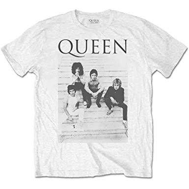 d03166103df Queen Group Band Stairs Official T-Shirt White  Amazon.co.uk  Clothing