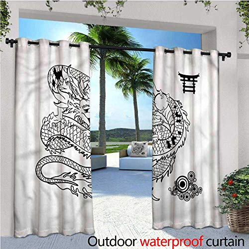 warmfamily Japanese Dragon Outdoor Privacy Curtain for Pergola Tattoo Art Reptile Thermal Insulated Water Repellent Drape for Balcony W108 x L108