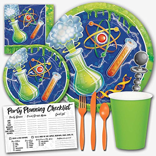 Honey Dew Gifts Mad Scientist Lab Experiment Theme Birthday Party Supplies Set for Boys - Serves 8 Guests -