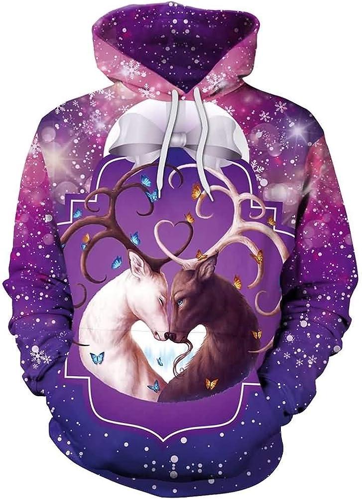 Unisex Couples Deer Hooded Sweatshirt 3D Printed Quick Dry Sweat Shirt Long Sleeve Hoodie Pockets Top #194