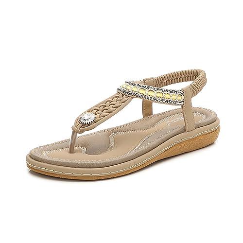 Gracosy Chaussures Été Femmes, Sandales Plates Été à Talons Plats Compensés  Tongs Claquettes Semelle Épaisse e31f56e4b3e2