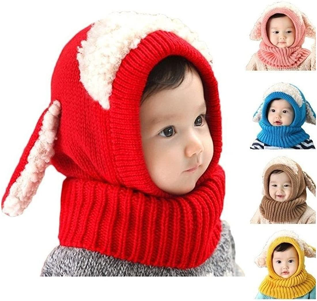 Cute Warm Hat Winter Hood Scarf Cute Baby Toddler Girls Boys Earflap Knitted Cap