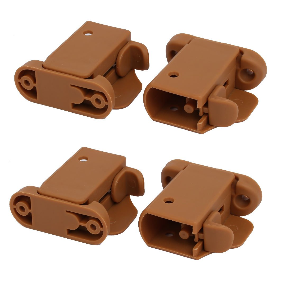 uxcell 21mmx30mm Plastic Left Right Side Guardrail Rail Buckle 2 Sets Brown w Spring