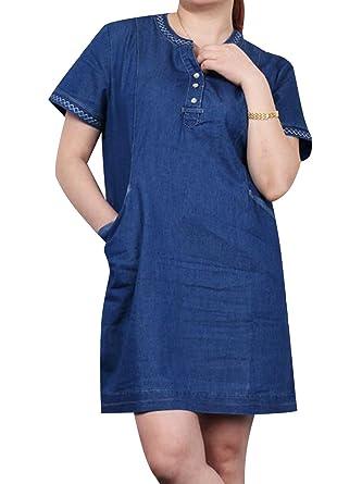 TRENDY XU Plus Size Short Sleeve Denim Dress Wash Blue Jean Mini ...