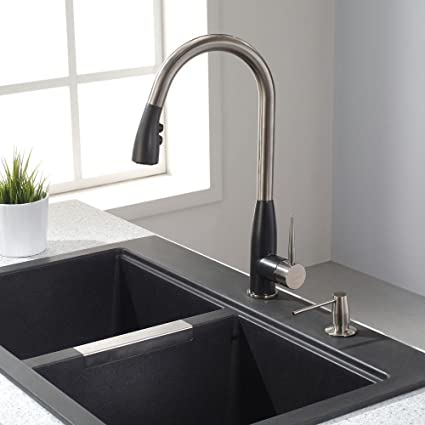 Beau KRAUS Geo Arch Single Handle Pull Down Sprayer Kitchen Faucet With Soap  Dispenser In