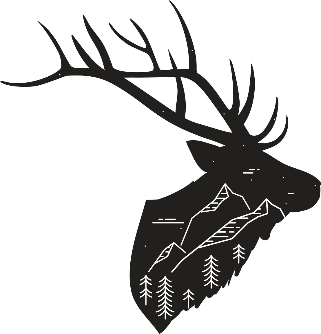Vinyl Sticker Waterproof Decal GT Graphics Elk Hand Drawn