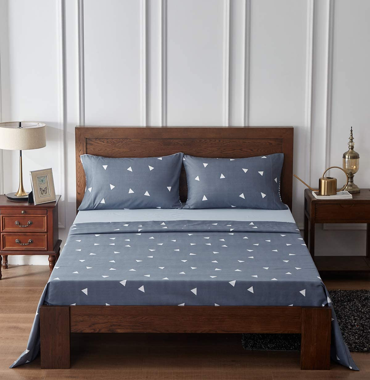 Uozzi Bedding Printed 4 Pieces Bed Sheets Set King Size 1500 Soft Brushed Microfiber Colorful Dots and Stripes Patterned Wrinkle and Hypoallergenic Adult Bedding Set