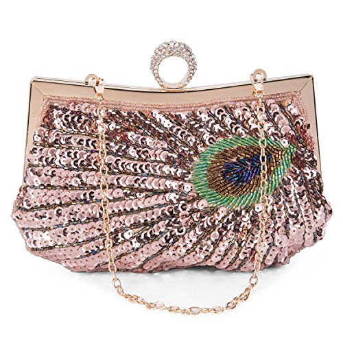Ceremony Sequined Bridal Party Clutch Pattern Bag Wedding Green Clutch Champagne Purse Peacock Woman Bag Hand Baigio Bag Hz8wxHF