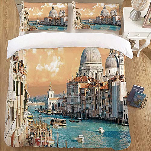 Decor Duvet Cover Set,Queen Size,3pc with Zipper Closure Cityscape Grand Canal in Venice Italy Historical European Cityscape Town Tower Boho Print Multi