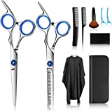 Hair Cutting Scissors Kits, 10 Pcs Stainless Steel Hairdressing Shears Set Professional Thinning Scissors For Barber…