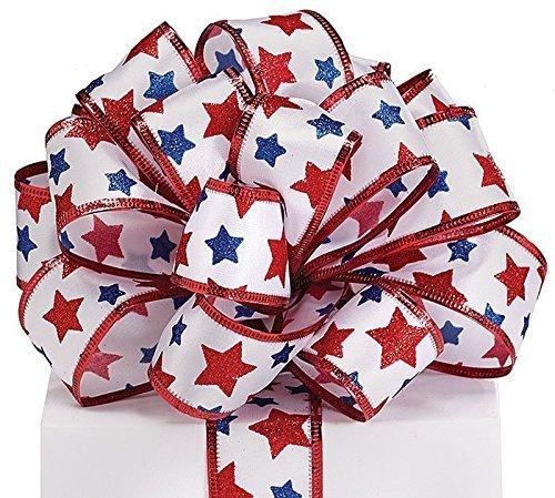 #9 Patriotic Stars on Satin Wired - Patriotic Ribbon