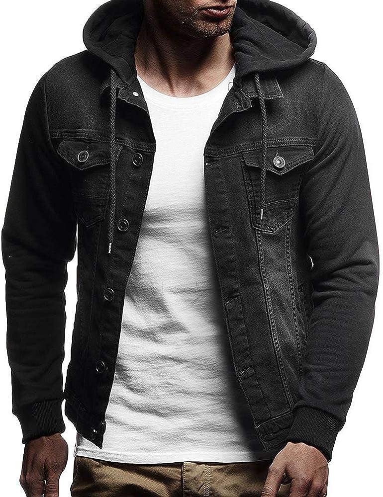 Keliay Mens Autumn Winter Hooded Vintage Distressed Demin Jacket Tops Coat Outwear