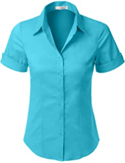 5fa54be6 Amazon.com: LE3NO Womens Roll Up 3/4 Sleeve Button Down Shirt with ...