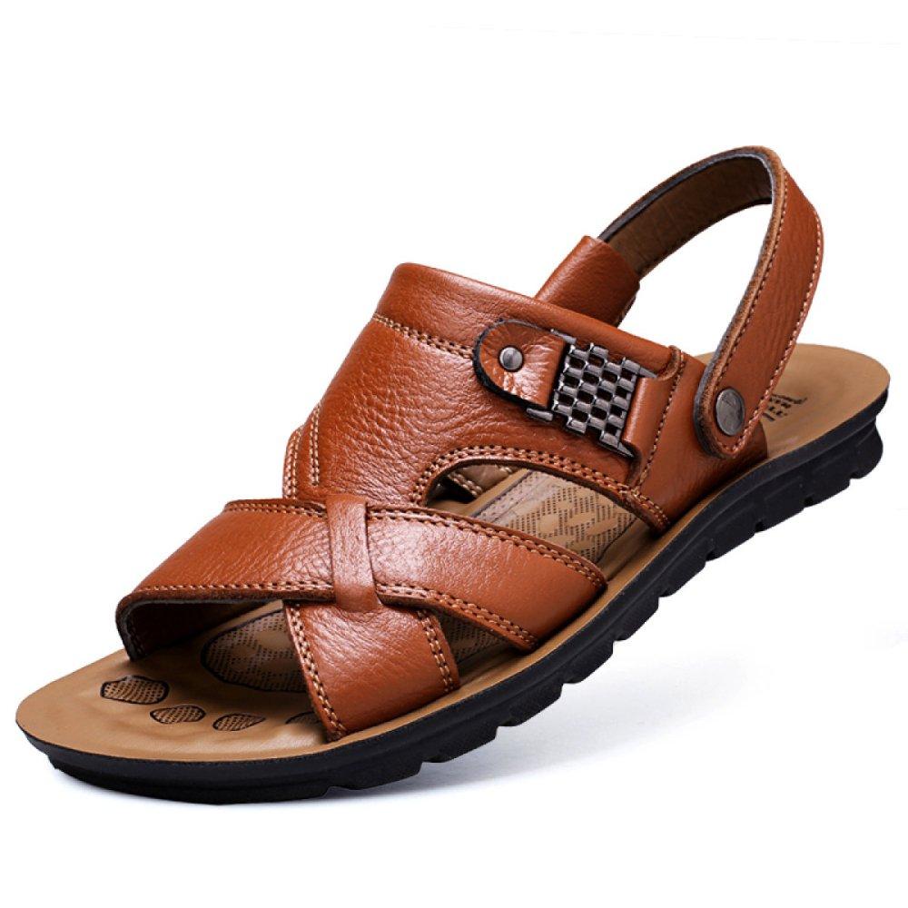 Sandalias para Hombre Deportes Al Aire Libre Ajustables Zapatos De Playa Cómodos Verano Punta Abierta Cuero Genuino AntideslizantePesca Inferior 37 EU|Lightbrown