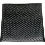 SKILCRAFT 7220-01-582-6231 Industrial Duty Anti Fatigue Mat with Yellow Safety Stripe, 3' Length x 2' Width, 9/16'' Thick, Black