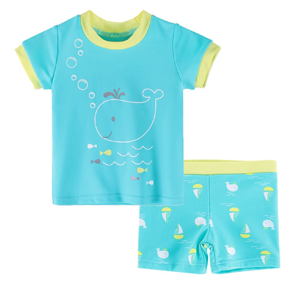 HUANQIUE Baby/Toddler Boy Swimsuit Rash Guard Swimwear Two Piece Short Sleeve