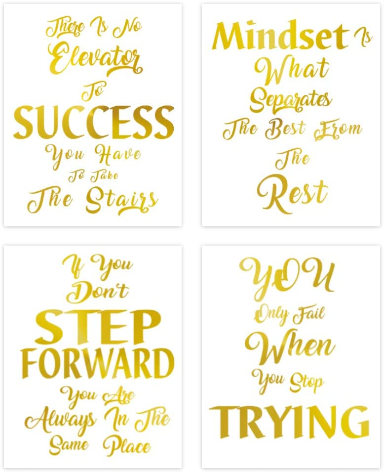 LHIUEM Motivational Quotes Art Print Gold Foil Cardstock Poster,Inspirational Saying Success Artwork Positive Word Trying Picture For Office Bedroom Living Room Wall Decor(8' X 10',set of 4,UNFRAMED)