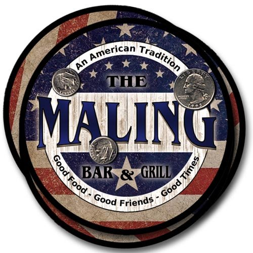 Maling Bar&Grill Family Name Neoprene Rubber Coasters - 4pcs
