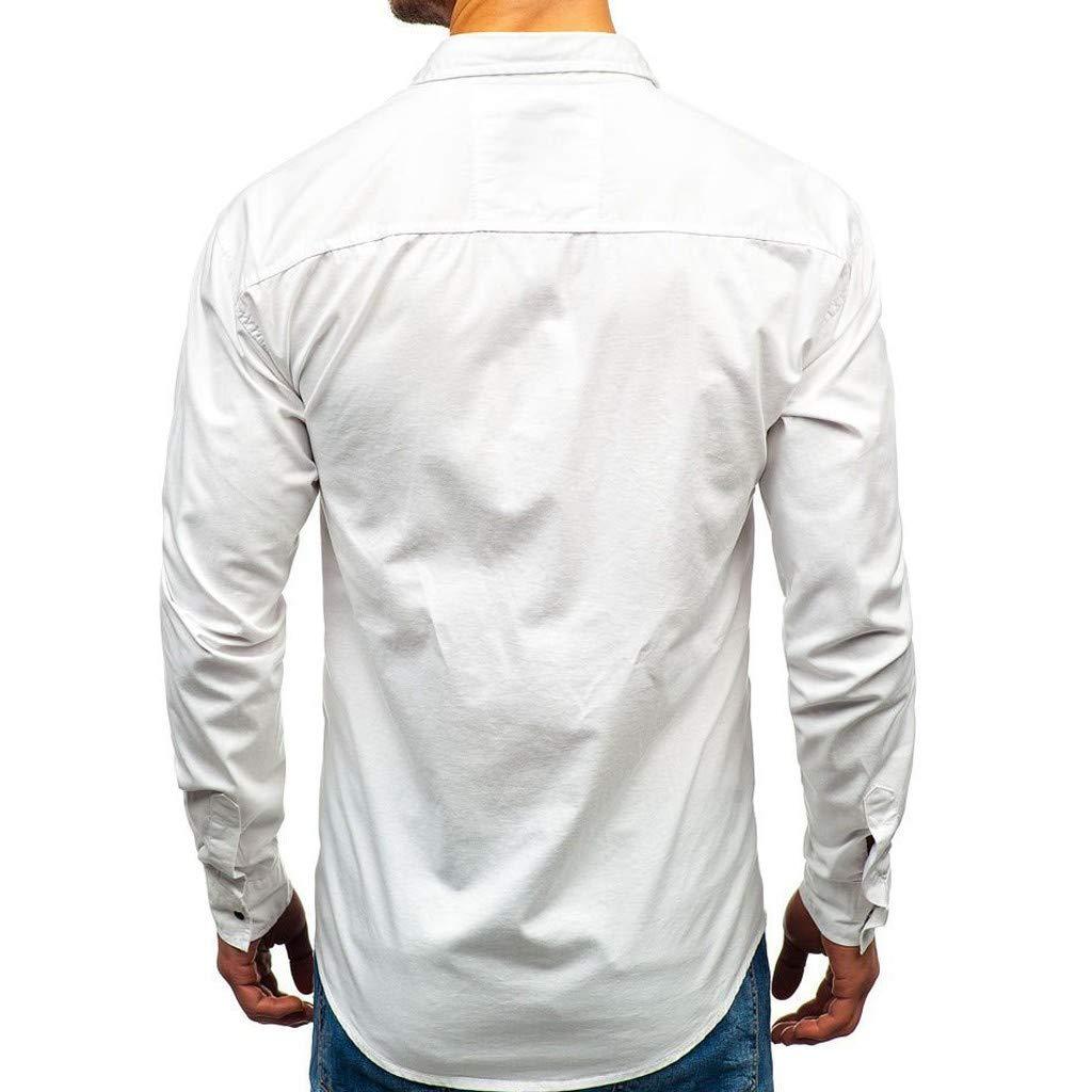 con Varie Tasche Leedy Camicia da Uomo a Maniche Lunghe Taglio Regolare Aderente alla Moda con Tasca Formale Camicetta a Maniche Lunghe