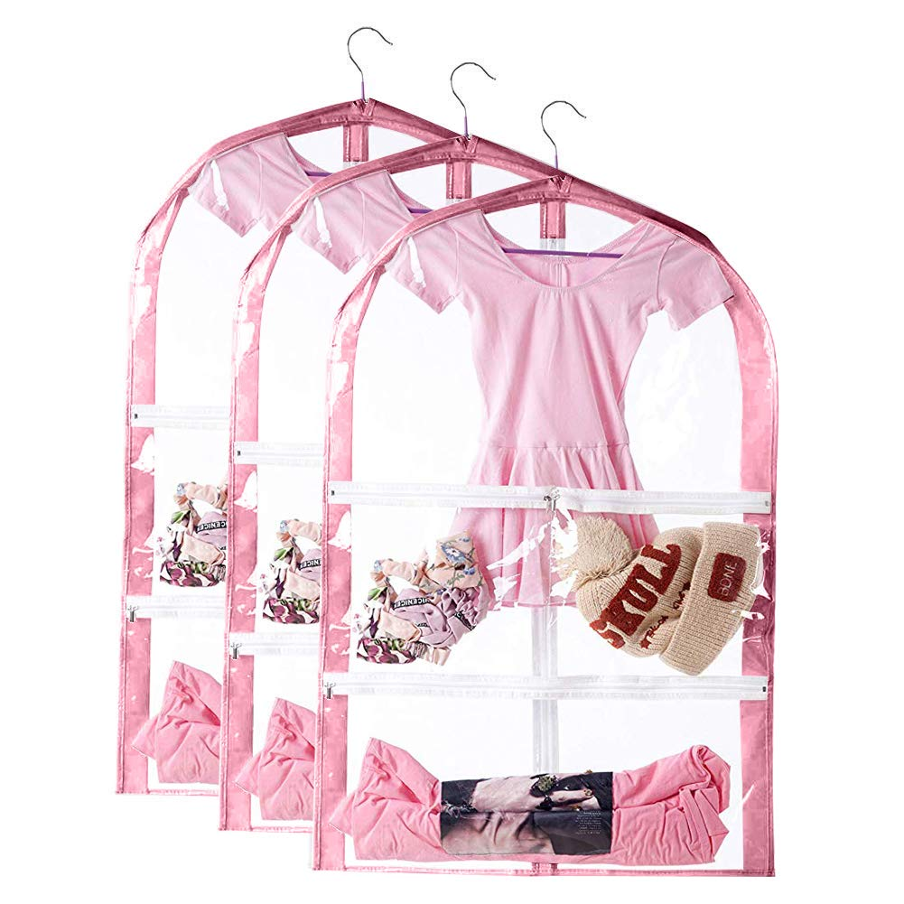 Full Zipper Dream Duffel for Dance Competitions QEES Clear Kids Dance Costumes Bags 35 Childrens Garment /& Costume Bag with 3 Pockets Pink, 1 PCS Foldable Hanging Costume Storage Cover Bag