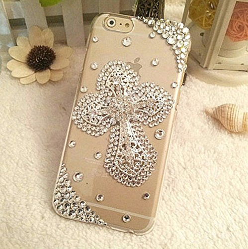 iPhone 8 Plus Case - crystal_phonecase Luxury 3D Bling Handmade Jewelled Pearl Crystals Diamond Clear Case Cover for Apple iPhone 7/8 Plus (Cross in crystals) (Swarovski Crystal Cross Cell Phone)