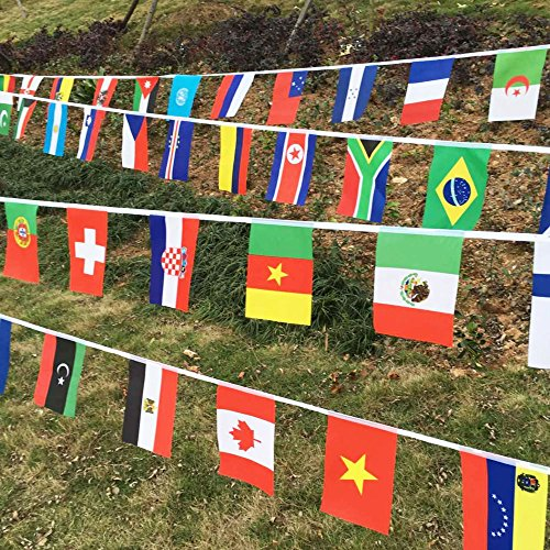 World Flags Banner String International Classroom 100 National Country Flags Bunting Pennant Olympics Party - Ship International Usps