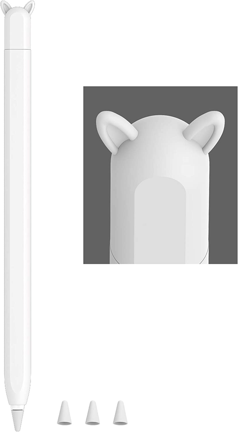 Cute Ear Case Silicone Skin Cover for Apple Pencil 2nd Generation, and Protective Nib Cover Accessories Compatible with iPad Pro 11 12.9 inch,White