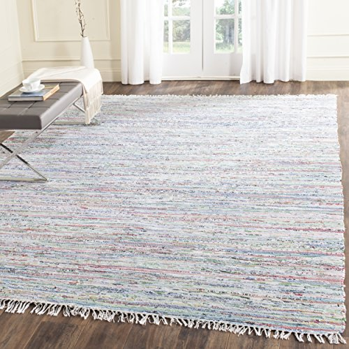 Safavieh Rag Rug Collection RAR125D Hand Woven Light Green and Multi Cotton Area Rug (6' x -