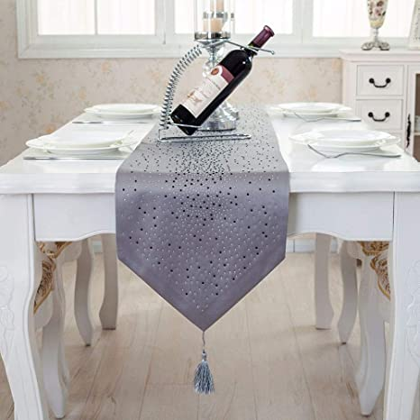 Fashion Rhinestone Bright Star Damask Silk Table Bunting for Home Coffee Tables Wedding Parties Decoration Tenrany Home Diamond Table Runner with Tassels Black, 13.0 x 73 inches