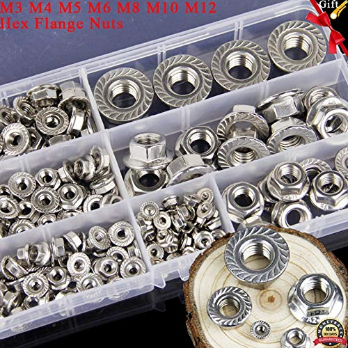 Nut & Bolt - 174Pcs Metric Thread M3 M4 M5 M6 M8 M10 M12 Hex Flange Nuts Assortment Kit 304 Stainless Steel DIN6923
