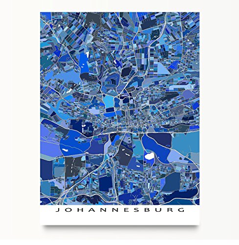 Johannesburg Map Print, South Africa, Blue City Art Poster