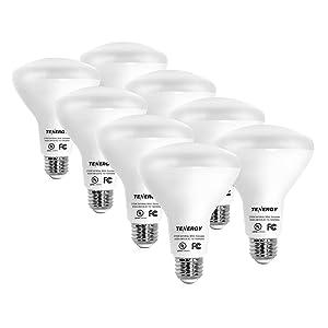 Tenergy Dimmable LED Flood Light Bulbs 60 Watt Equivalent (8W), Daylight White (5000K), BR30 E26 Medium Standard Base Recessed Light Bulbs for Can Ceiling Light (Pack of 8)