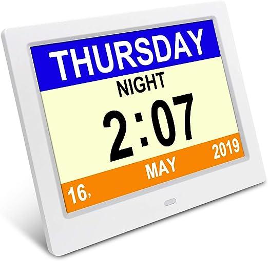 8inch LED Video Dementia Digital Calendar Clock Large Letter Week//Month//Year UK
