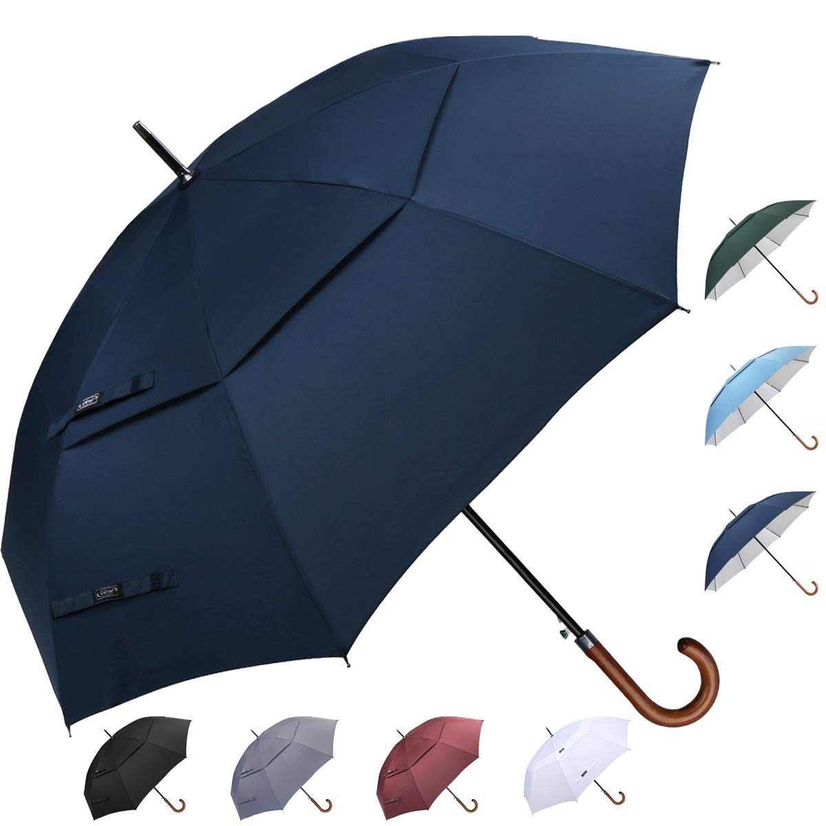 G4Free Wooden Hook Handle Classic Golf Umbrella Windproof Auto Open 62 inch Large Oversized Double Canopy Vented Rainproof Cane Stick Umbrellas Men Women(Blue) by G4Free